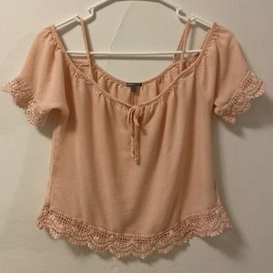 Charlotte Russe Pink Lace Cold Shoulder Top Small